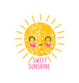 hand-drawing sweet sun with sequins texture vector image
