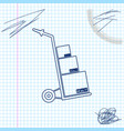 hand truck and boxes line sketch icon isolated on vector image vector image