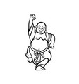 happy buddha dancing cartoon vector image