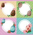 happy easter card with egg painted circular frames vector image vector image