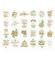 Happy New Year typographic emblems set vector image