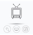 Hard disk pc mouse and retro tv icons vector image