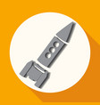 icon rocket on white circle with a long shadow vector image vector image