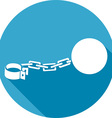 Iron Chain with a Shackle Icon vector image vector image