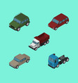 isometric automobile set of car auto armored and vector image vector image