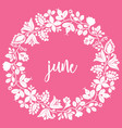june sign with wreath on pink background vector image