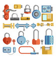 lock and key door handle and padlocks home vector image vector image