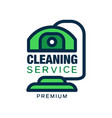 logo with abstract cleaning device in line style vector image