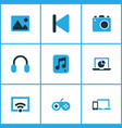 media colorful icons set collection of picture vector image