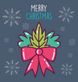 merry christmas celebration red ribbon bow and vector image vector image