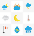 nature flat icons set collection of sunny drop vector image vector image