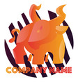 orange angry bull in front purple and white vector image vector image