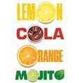 orange mojito cola text with many water drops vector image vector image