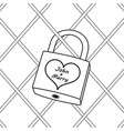 padlock with heart coloring book vector image vector image