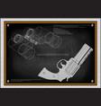 pistol and binoculars vector image vector image