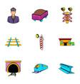 railroad icons set cartoon style vector image vector image