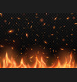 realistic fire with sparks burning campfire vector image vector image