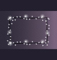 rectangular frame made christmas lights sparkling vector image