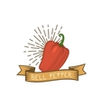 Red pepper badge vegetable food flat vector image vector image