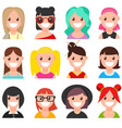 set of cartoon faces girls part 1 vector image vector image