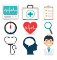 set of mental health and medical icons vector image