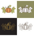 set pumpkins with leaves vector image