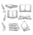 sketch icons of old books and manuscripts vector image vector image