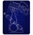 steering wheel piston and exhaust pipe vector image