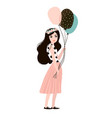 stylish woman in fashion clothes with balloons vector image vector image