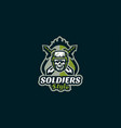 the emblem of the soldier logo military skull vector image