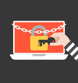 thief hand holding key to open lock and chain vector image