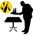 waiter silhouette vector image