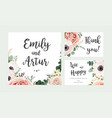 wedding floral invite card design with flowers vector image vector image