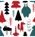 wildwood seamless pattern with animals vector image