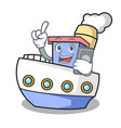 with phone ship character cartoon style vector image