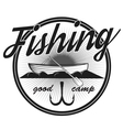 Vintage trout fishing emblems vector image