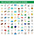100 active lifestyle icons set cartoon style vector image vector image