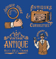 Antique shop labels or badges vintage victorian