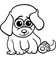 baby puppy cartoon coloring page vector image vector image