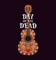 banner for the day of dead with guitar and dia de vector image vector image