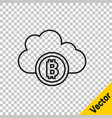 black line cryptocurrency cloud mining icon vector image vector image