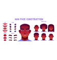 black man face construction avatar creation set vector image