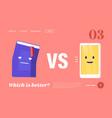 book vs e-book landing page template innovative vector image