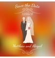 bride and groom pastel silhouettes over vector image