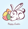 card for easter with rabbit and eggs vector image vector image