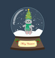cat in christmas costume in snowball vector image vector image