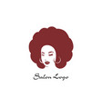 circle hair style icon logo women face on white vector image