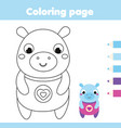 coloring page with hippo drawing kids activity