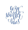 cozy winter vibes - handwritten lettering text vector image vector image