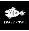 crazy fish mascot design template vector image vector image